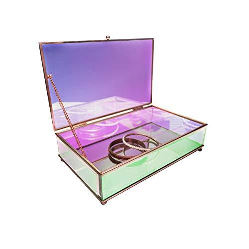 Moosy Life AB65 Iridescent Glass Jewelry Box with Mirror Bottom & Hinged Lid, Aurora Borealis Series (L)