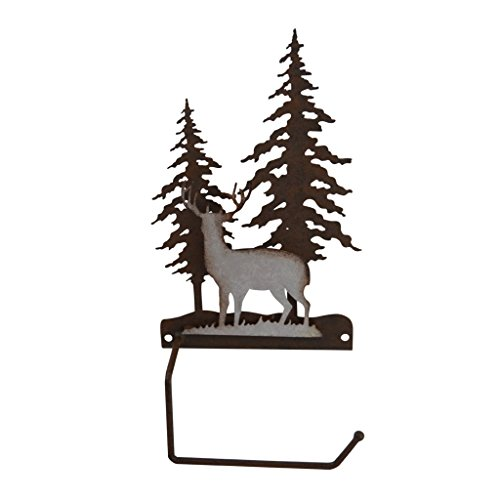 pine ridge Deer Scene - Metal Toilet Paper Roll Holder - Western Decorative Wall Mount Tissue Holder for Toilet and ()
