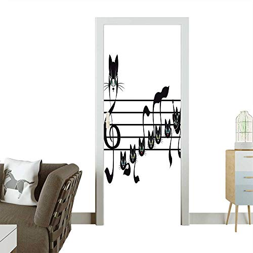 Decorative Door Decal Notes Kittens Cat Artwork Notation Tune Children Halloween Style Pattern Black Stick The Picture on The doorW23 x H70 INCH -