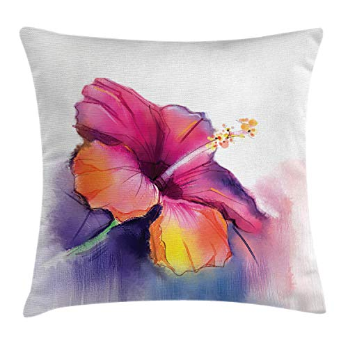 Ambesonne Watercolor Flower Home Decor Throw Pillow Cushion Cover, Hibiscus Flower in Pastel Abstract Romantic Petal Pattern, Decorative Square Accent Pillow Case, 24 X 24 Inches, Orange Purple