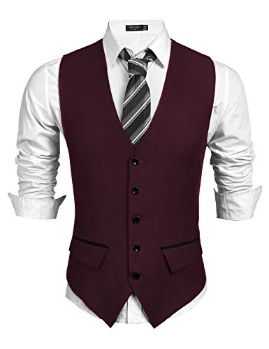 - COOFANDY Men's Suit Vest Slim Fit Business Wedding Waistcoat Wine Red