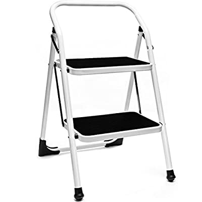 Delxo 2 Step Ladder Folding Step Stool Lightweight Steel ladder with Handgrip Anti-slip Sturdy and Wide Pedal Steel 330lbs Ladder White and Black Combo(WK2062A)