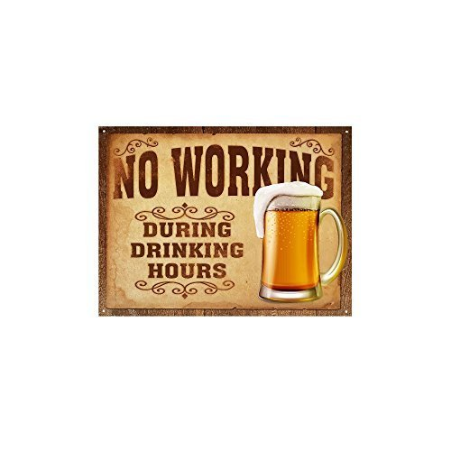 Funny Wall Signs for Home & Kitchen, 'No Working During Drinking Hours' Vintage Tin Signs, Funny Vintage Kitchen Signs, Retro Signs for Man Cave, Beer Novelty Signs, Funny Door Signs About Beer