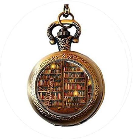 [해외]Library Book Necklace Glass Dome Art Pendant Dance Recital Pocket Watch Necklace / Library Book Necklace Glass Dome Art Pendant Dance Recital Pocket Watch Necklace