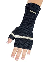 LUNA & TERRA-VERONA Gloves Handmade Knit PURE ALPACA (Navy Blue/Ivory)