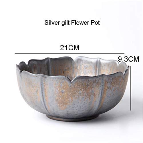 Bowl Planter - Vintage Silver Gilt Lotus Bowl Japanese Style Ikebana Flowerpot Hydroponic Vase Ceramic Planters Coarse Pottery Flower Pot Decor
