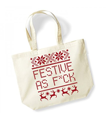 Festive As F*ck - Large Canvas Fun Slogan Tote Bag Natural/Red