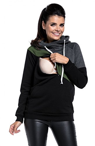 Happy Mama Womens Nursing Hoodie Breastfeeding Top Colour Block Maternity. 321p (Graphite Melange & Olive & Black, US 6, M) by Happy Mama (Image #2)