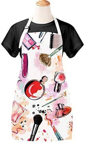 Sevenstars Girls Apron Cosmetic Theme Cooking Apron Makeup Apron Modern Fashion Lady Apron Waterproof Adjustable Kitchen Apron for Baking Gardening