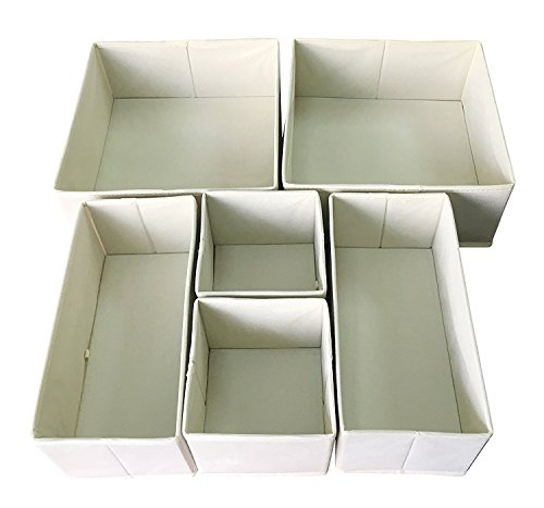 Sodynee Foldable Cloth Storage Box Closet Dresser Drawer Organizer Cube Basket Bins Containers Divider with Drawers for Underwear, Bras, Socks, Ties, Scarves, 6 Pack, Beige