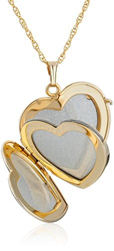 14k Yellow Gold Filled Engraved Four Picture Heart Locket