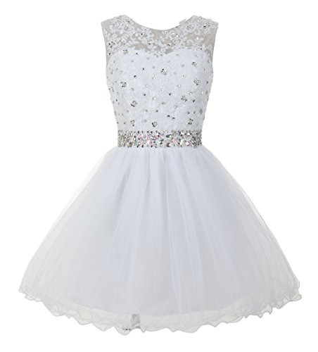 Beadings Cocktail - Mamilove Women's Tulle Short Applique Beading Formal Homecoming Cocktail Party Dress 18W White
