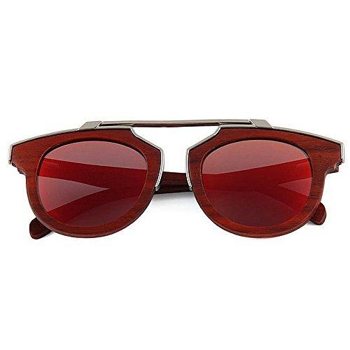 madera de UV Original alta de de metal playa hecha Wayfarer gafas Adult sol a Decoración de calidad de polarizadas de madera Eyewear de Diseñador gafas de sol sol Rojo de gafas sol mano protección Gafas Hxq8wP1