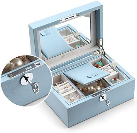 Vlando Jewelry Box, Jewelry Organizer and Storage with Mirror and Tray -Blue