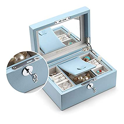 Buy Blue Vlando Pandora Jewelry Box Jewelry Organizer And Storage With Mirror And Tray Blue Online At Low Prices In India Amazon In