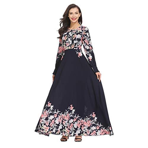 B2keevin Womens Muslim Loose Solid Color Robe Clothing Abaya Islamic Shalwar Kameez Navy