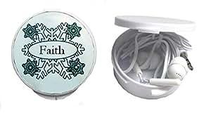 Auriculares in-ear en una caja personalizada con Faith