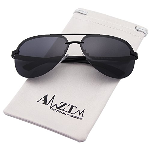 AMZTM Classic Fashion Aviator Polarized Women and Men Sunglasses Metal Frame Double Bridge Driving Glasses 100% UV400 Protection (Black Frame Grey Lens, - For Best Beach Sunglasses