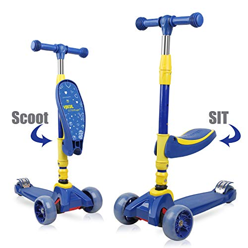 VOKUL 2-in-1 Scooter for Kids with Folding Seats & Height Adjustable - Light up Wheels Kick Scooter for Age 2-8 Toddlers Girls or Boys