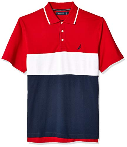 Nautica Men's Short Sleeve 100% Cotton Pique Color Block Polo Shirt, Red, - Tall And Big Nautica