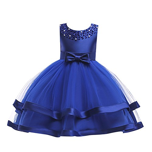 Charcoal Flower Girl Dresses (Kids Toddler Baby Girls Dresses,Sleeveless Solid Lace Bowknot Princess Party Formal Clothes 3-7 Years (Size:6T,)