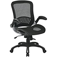 Office Star Beathable Mesh Seat Back Managers Chair Padded Flip Arms Silver Accents, Black