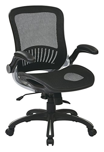 Office Star Beathable Mesh Seat and Back Managers Chair with Padded Flip Arms and Silver Accents, Black Avenue Mid Back Chair