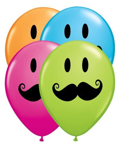 qualatex smiley face with mustache 5 round balloons pack