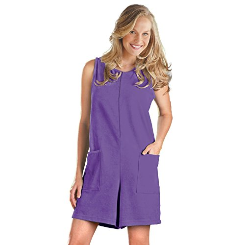 Women's Sleeveless Terry Zip Romper with Front Pockets, Purple, Large