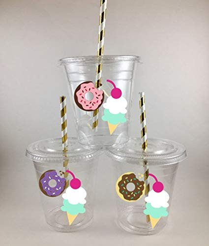DONUTS AND ICE CREAM PARTY CUPS Set of 12 WITH Lids and Straws Birthday