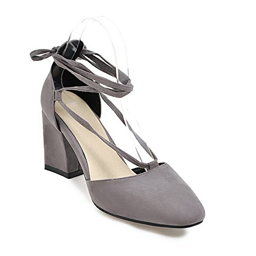 BalaMasa Womens Sandals Mid-Heel Fabric Urethane Sandals ASL04866 Gray Hrlg1TC