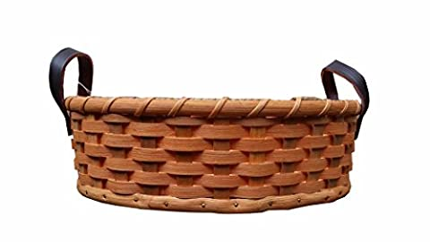 Hand Woven Large Oval Fruit Basket With Leather Handles, Amish Made In USA - Hand Woven Oval Basket