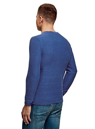 Hombre Oodji Botones Ultra Con En Cuello De Azul Suéter Algodón Zfpqzwx55