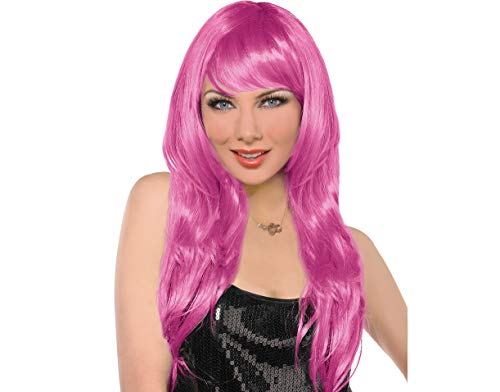 (Amscan 397285.103 Perfect Team Spirit Glam Long Wig Accessory, Pink, One Size Party Supplies)