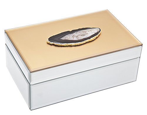 "Philip Whitney 8"" Mirror Gold Rectangular Jewelry Box Holder With Grey Agate Ornamental Stone"