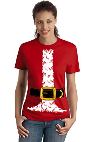 [Santa Claus Costume | Jumbo Print Novelty Christmas Holiday Humor Ladies' T-shirt-Ladies,XL] (College Girls In Costumes)