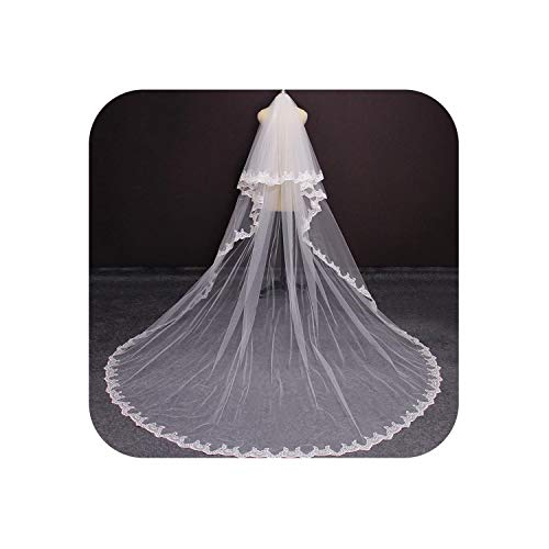 Real Photos 2 Layers Bling Sequins Lace Long 3 M Wedding Veil White Ivory Blusher Bridal Veil With Comb Wedding Accessories,White,300Cm