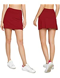 Women's Casual Pleated Tennis Golf Skirt with Underneath...