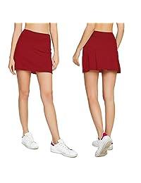 Cityoung Falda de Golf Plisada Casual para Mujer con Pantalones Cortos para Correr