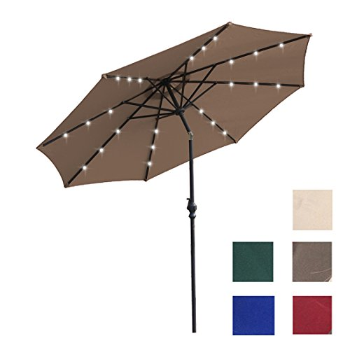 Kosycosy 10 ft LED Lighted Patio Umbrella LED Solar Power Table Market Umbrella, with Tilt Adjustment & Crank Lift System, for Outdoors, Patios (Brown)