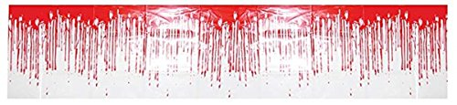 Dripping Blood Border Haunted House Halloween Prop Decoration, 5 Feet]()