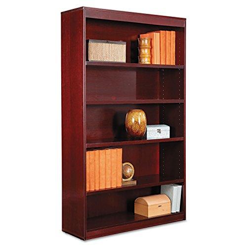 (Alera BCS56036MY Square Corner Wood Veneer Bookcase, Five-Shelf, 35-5/8 X 11-3/4 X 60, Mahogany)