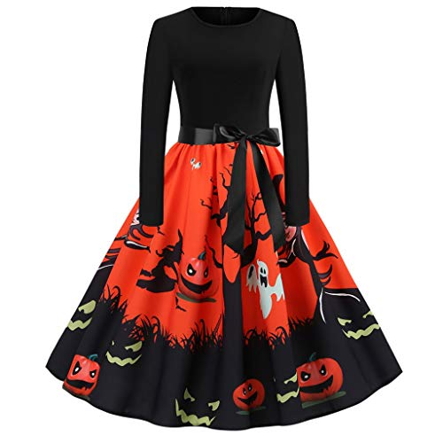 Clearance Halloween Dress, Forthery Women Pumpkin Skull Skater Swing Dress Vintage Elegant A-line Skull Dress(Orange,XXL)]()