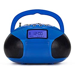 Mini Stereo Speaker, Portable Radio Alarm Clock MP3 System with Powerful Bluetooth Speaker- FM Alarm Clock Radio with Card Reader, USB and AUX in (Micro USB) Speakers Blue (SE20)