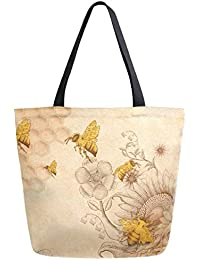 Rural Honey Bees Wildflowers Extra Large Canvas Shoulder Tote Top Handle Bag for Gym Beach Travel Shopping