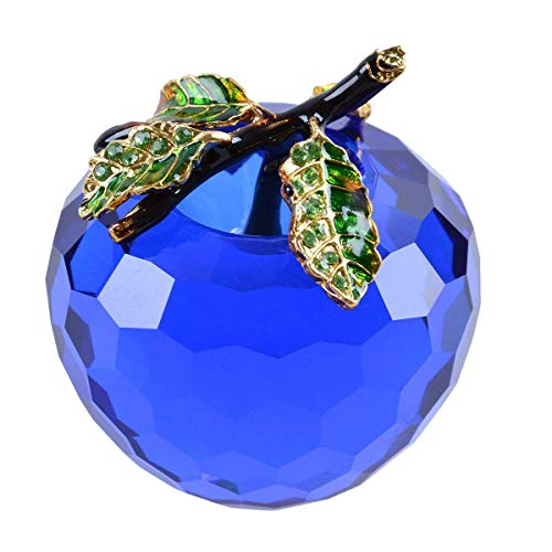 LONGWIN Crystal Apple Figurine Paperweight 60mm (2.4 inch) Cut Faceted Glass Christmas Decoration Onaments Blue