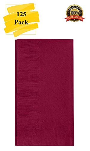 MM Foodservice 125 Count 2 Ply Paper Dinner Napkins perfect for Weddings, Parties, Dinners or Events (BURGUNDY)