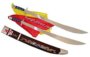 Wushu/Kung Fu Twin Broadsword (Shuang Dao) - 33 inches, Swords