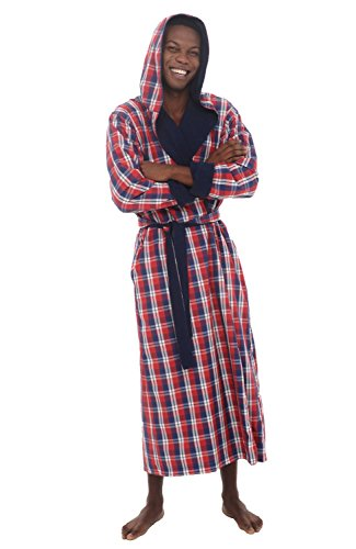 Del Rossa Mens Turkish Terry Cloth Robe, Hooded Woven Shell Long Bathrobe, Blue and Red Plaid Large XL (A0141P40XL) (Del Rossa Mens Cotton Robe Lightweight Woven Bathrobe)