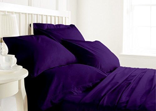 Reliable Bedding Organic Cotton 600 TC 4-Piece Sheet Set,Wrinkle,Fade,Stain Resistant, Incredibly Soft Luxurious & Hypoallergenic 19'' DP solid sheet set & Pillow Case Set !!! (Purple/Qu)